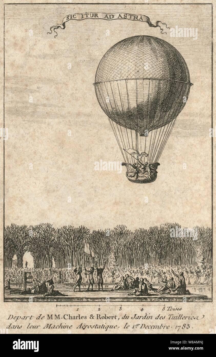 Parten de MM. Charles y Robert, du Jardin des Tuilleries dans leur máquina aërostatique. Foto de stock