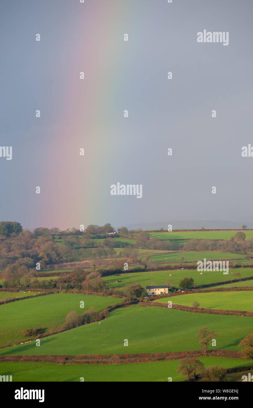 El campo se ilumina en esta hermosa mañana de Dewey en Warwick, Inglaterra. La lluvia dejó de caer y un arco iris llena el cielo como los rayos del sol hacia abajo. Foto de stock