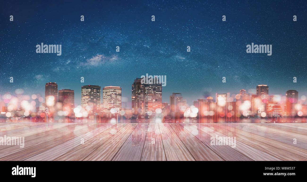 Vistas Panorámicas De La Ciudad De Osaka Por La Noche Con