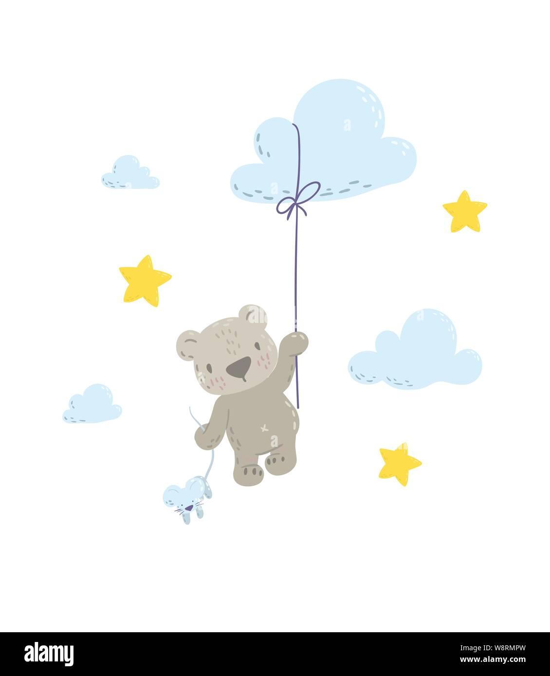 Lindo Oso Está Volando En Un Globo Nube Plana Caricatura