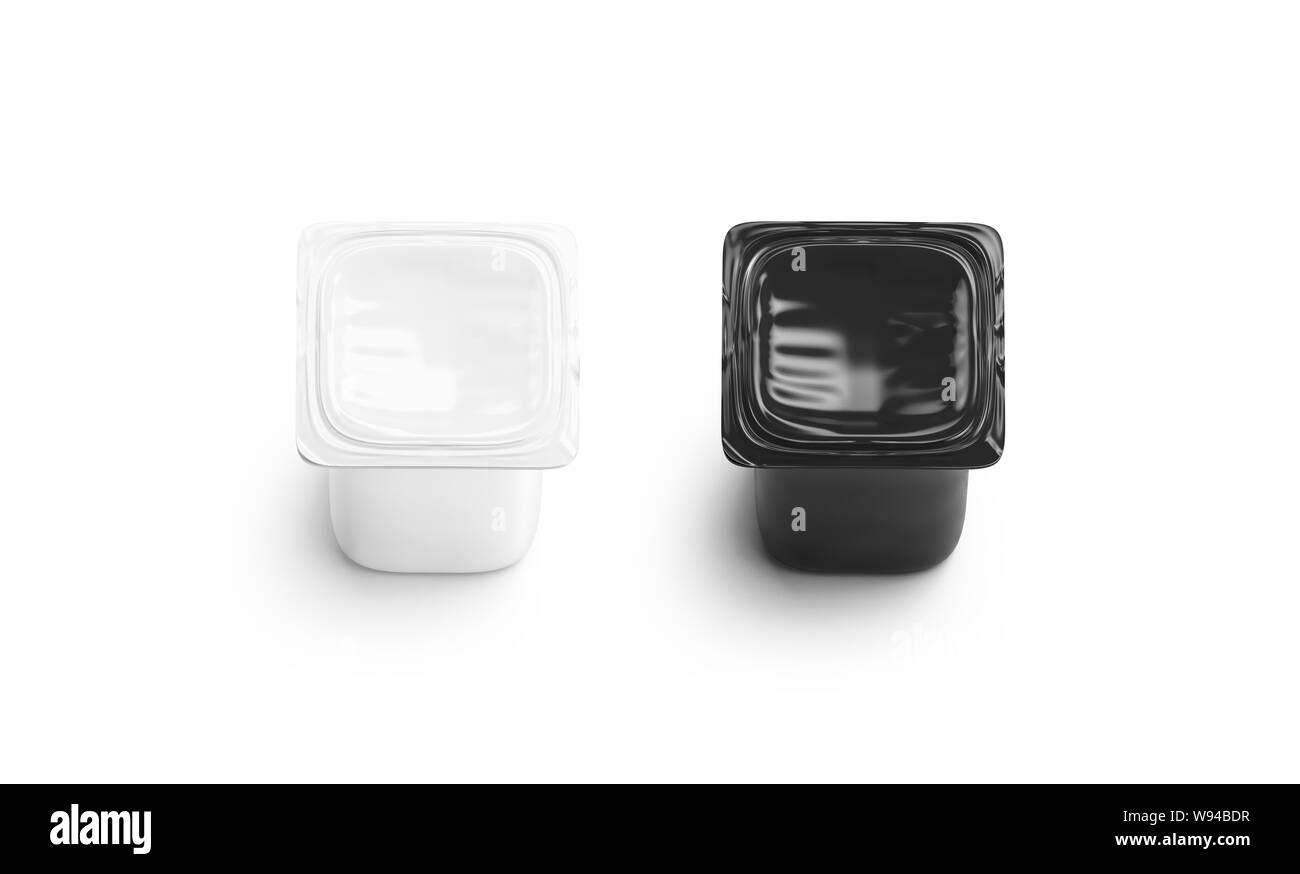 Blanco y negro en blanco yogur box set maqueta aislados, 3D rendering. Lata vacía de Yogures griegos de maquetas, remolque de vista. Claro cerrado tetra pac para yogur logotipo plantilla. Foto de stock