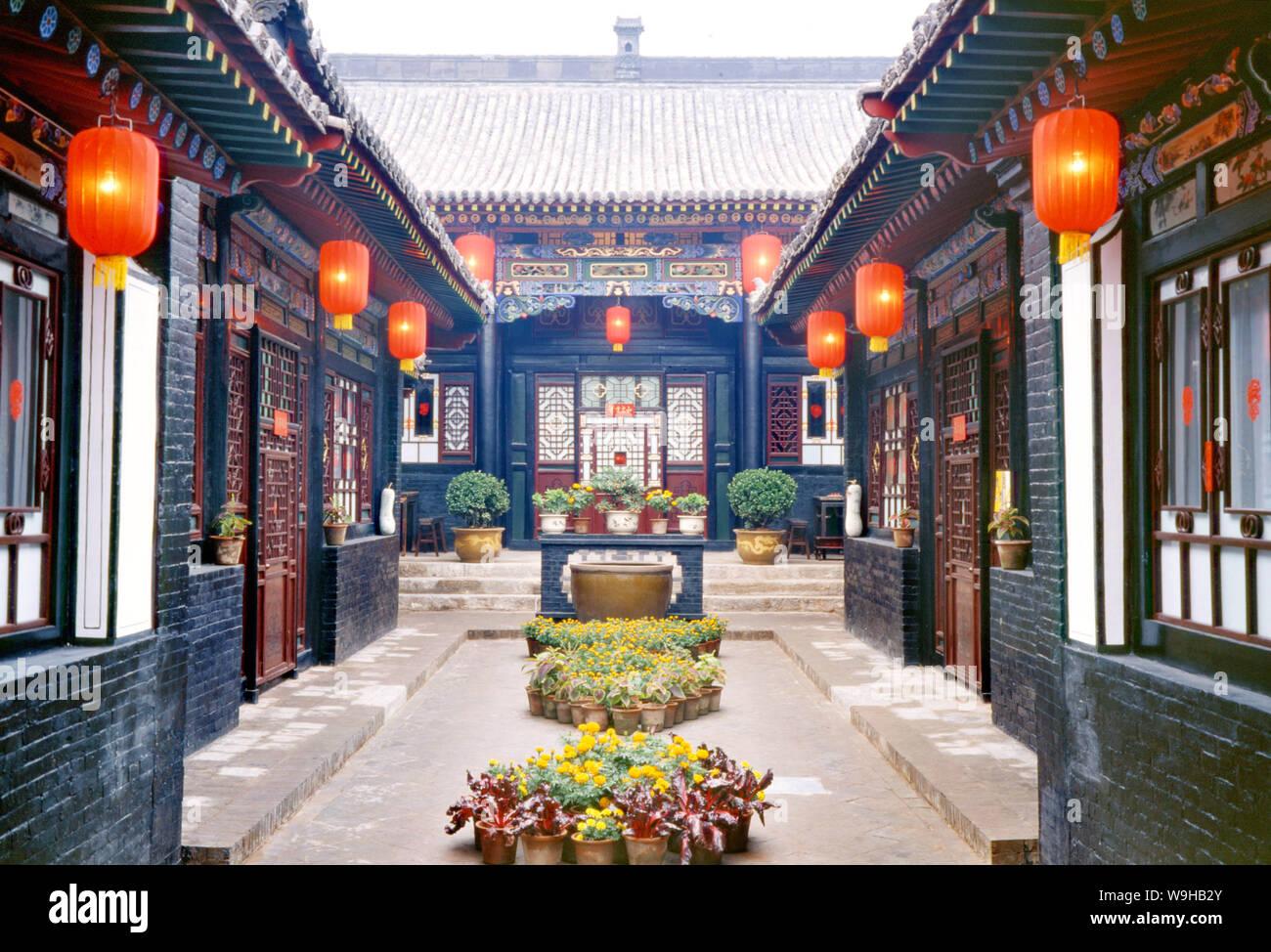 Interior de una vivienda civil en Pingyao ciudad vieja, en el centro de la provincia de Shanxi Chinas Foto de stock