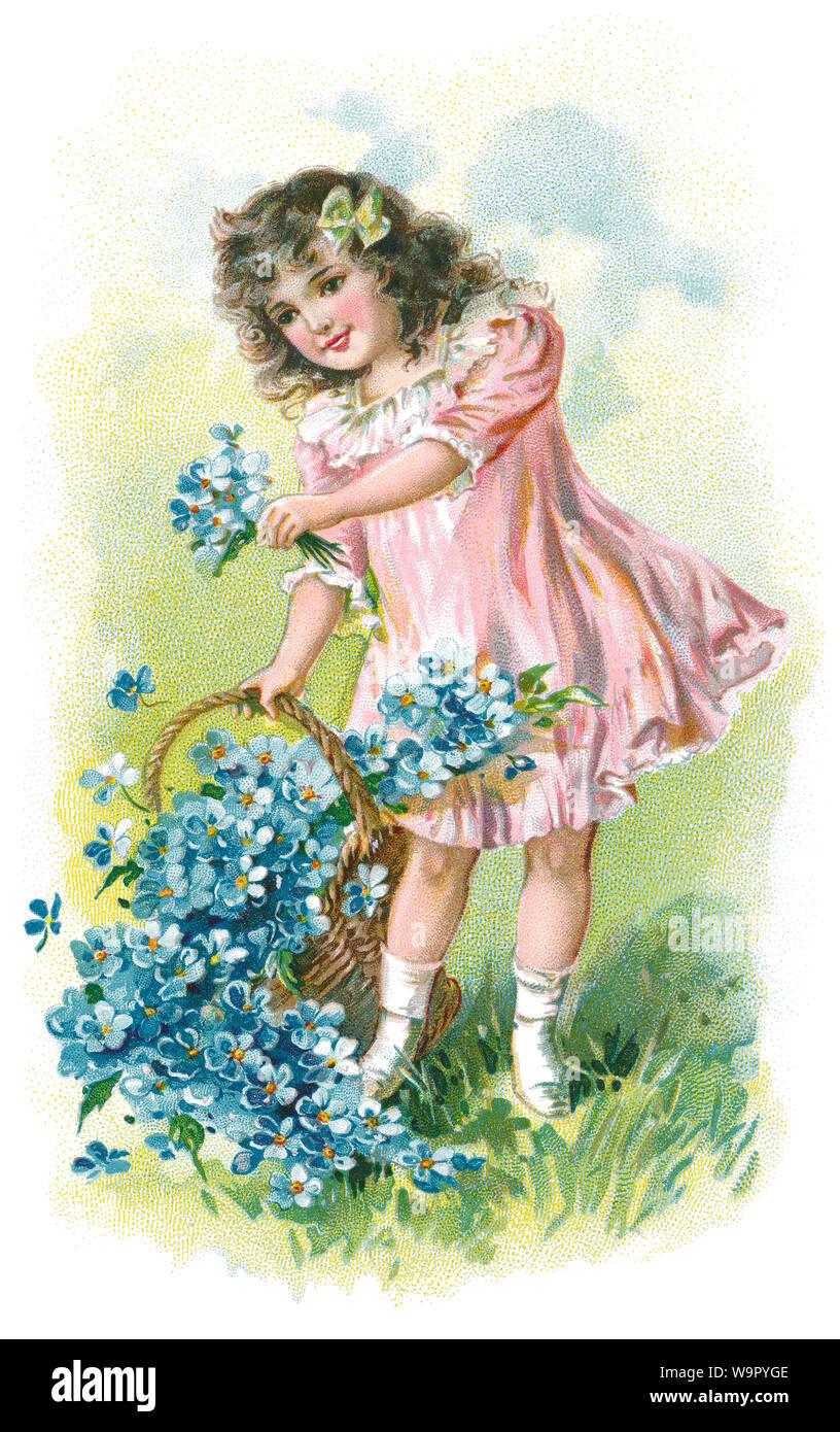 Ilustración de estilo Eduardiano sentimental de una niña con Forget-me-nots. Foto de stock