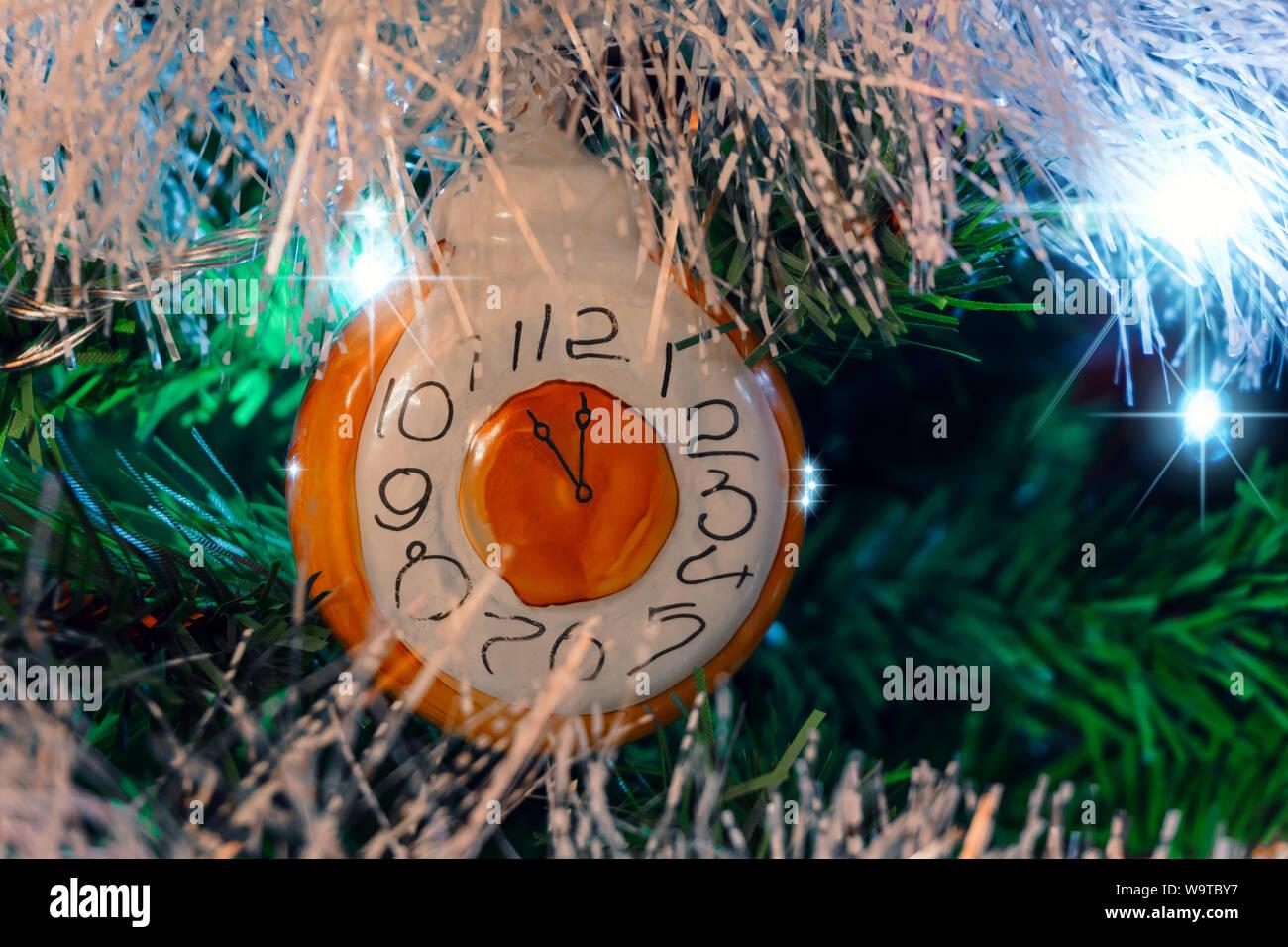Fondo De Navidad Con Decoración Navideña Vintage Reloj