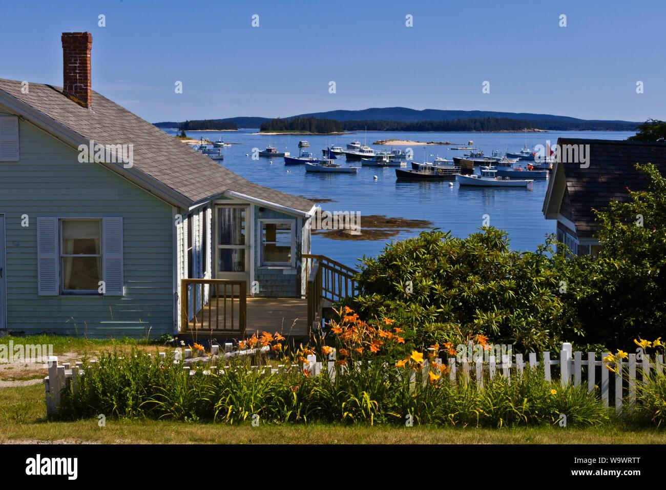 Los barcos pesqueros anclados en STONINGTON un importante puerto de pesca de langosta y destino turístico - Deer Island, Maine Foto de stock