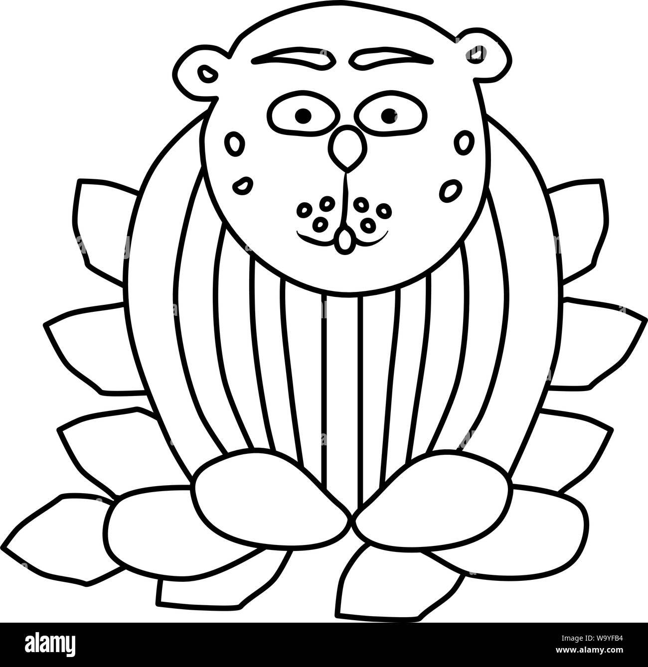 Libro Para Colorear Para Los Niños El Animal Se Asienta En