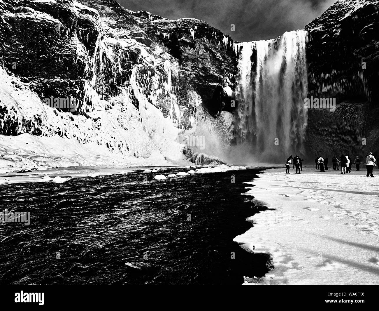 Islandia cascada en invierno Foto de stock
