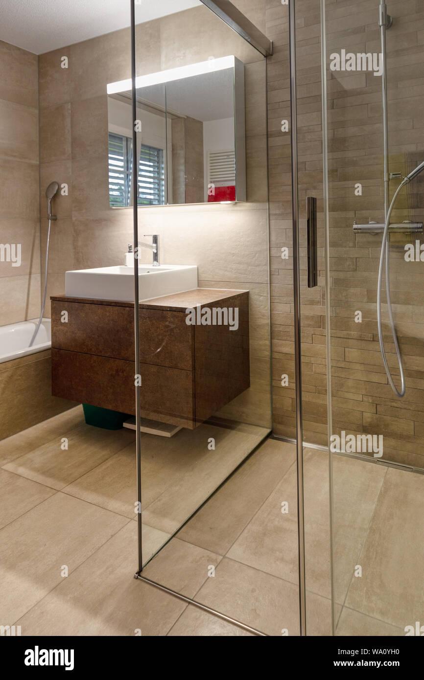 Interior de un cuarto de baño moderno con muebles marrones ...