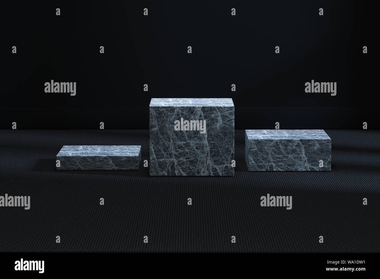 La plataforma cúbico de mármol en el cuarto oscuro, 3D ...