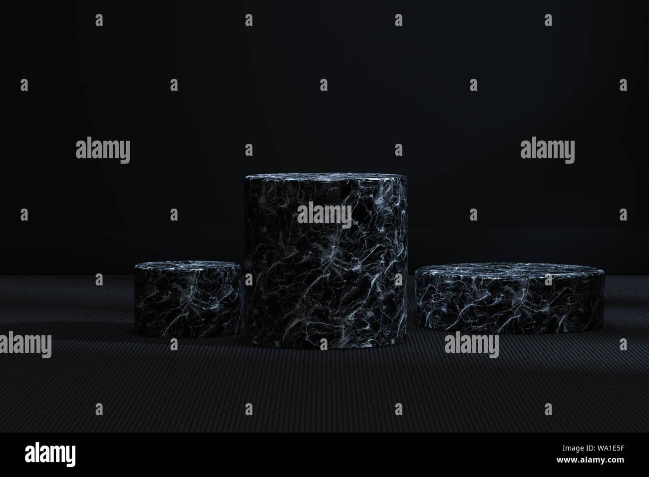 La plataforma de cilindro de mármol en el cuarto oscuro, 3D ...