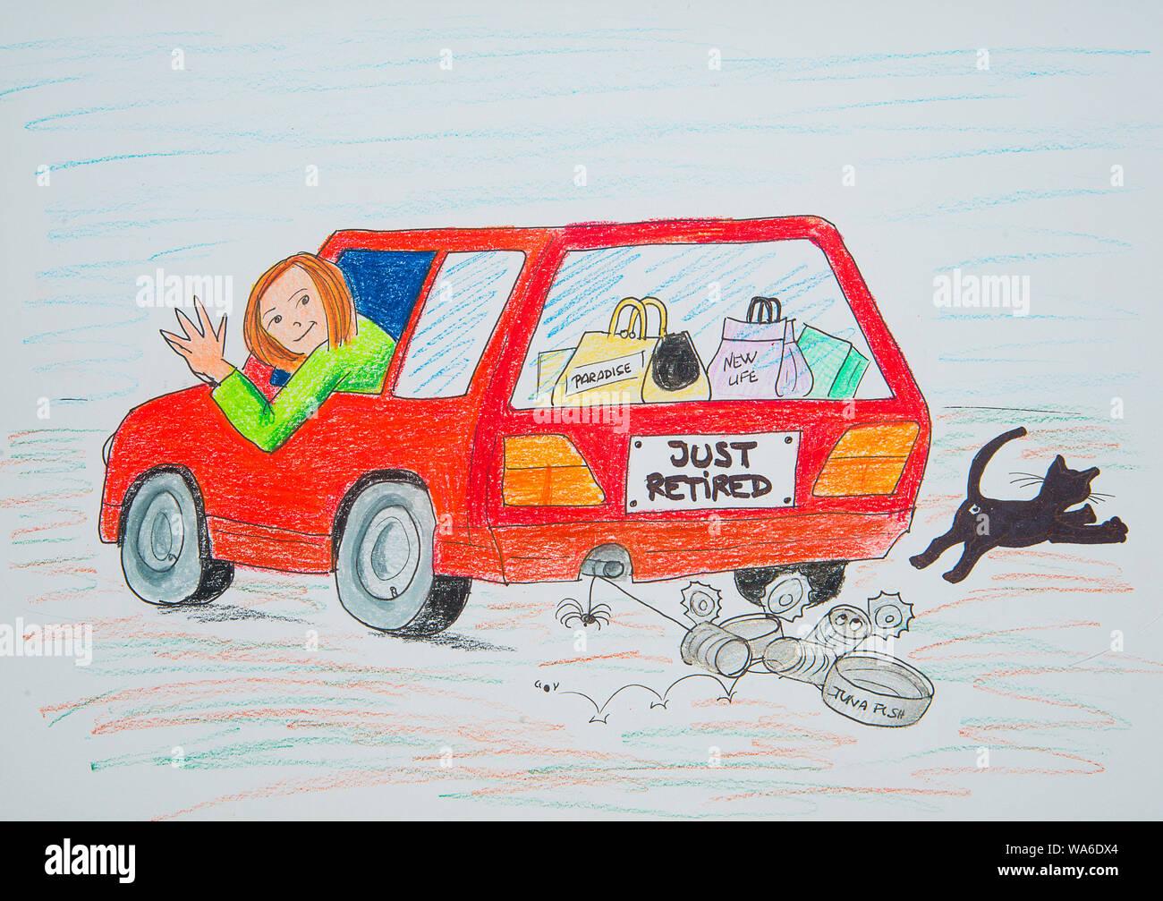 Mujer diciendo adiós y conducía su automóvil en su jubilación. Ilustración. Foto de stock