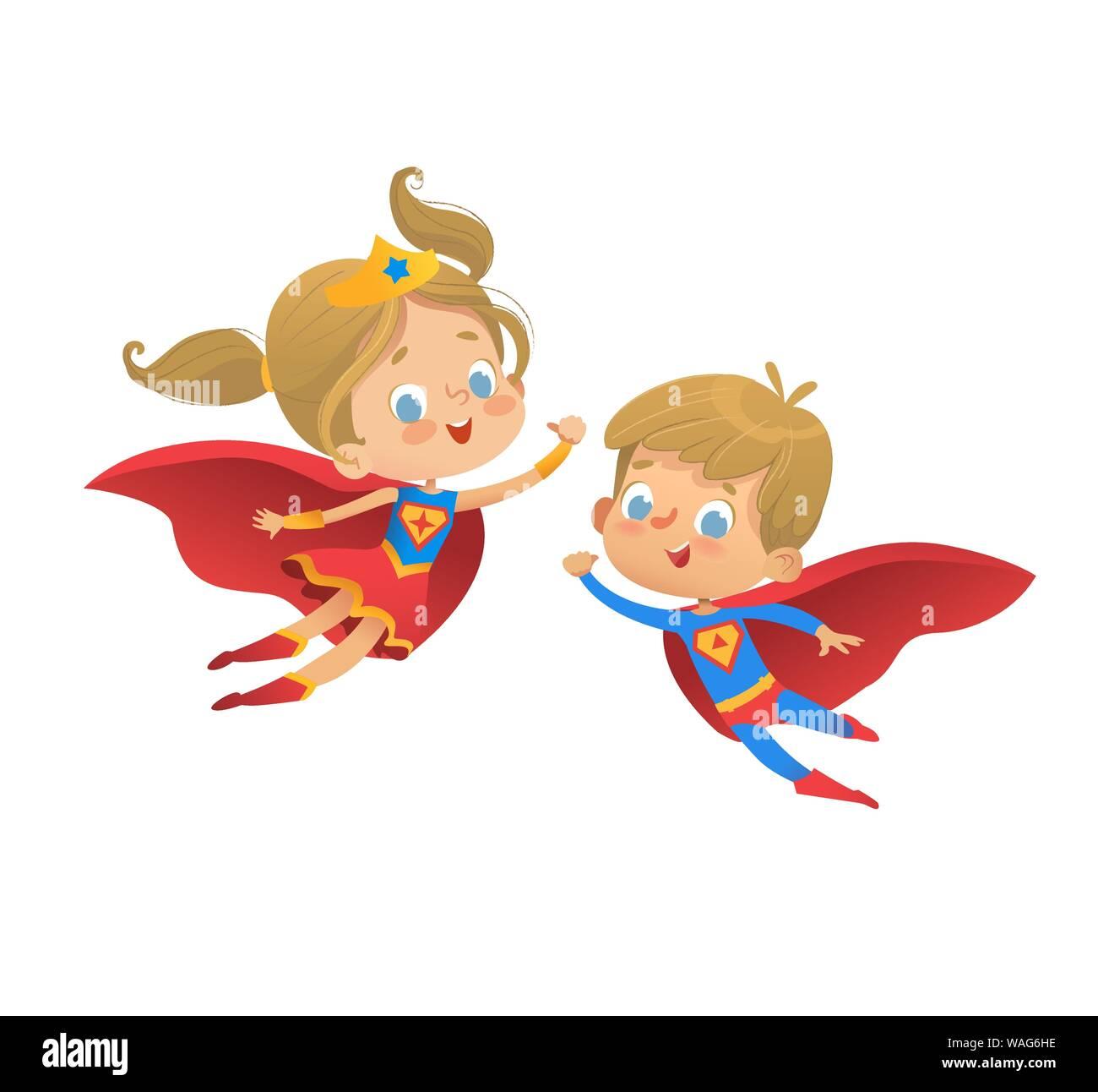 Superhéroe de dibujos animados para niños ilustración vectorial. Super Hero  niños ilustración aislado sobre fondo blanco. Vector de dibujos animados  personajes de Kid Imagen Vector de stock - Alamy