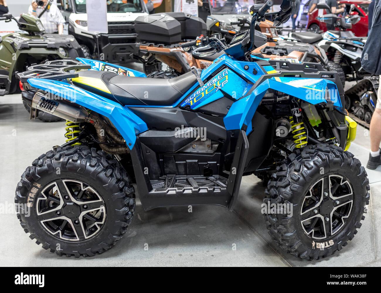 Cracovia, Polonia - Mayo 18, 2019: El Polaris quad muestra en Moto Show en Cracovia, Polonia. Expositores presentes aspectos más interesantes de la automoción i Foto de stock