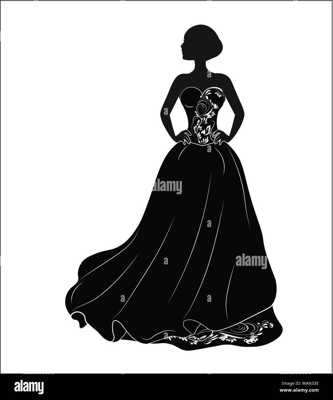 Novia Con Un Negro Vestido De Novia Una Silueta Ilustración