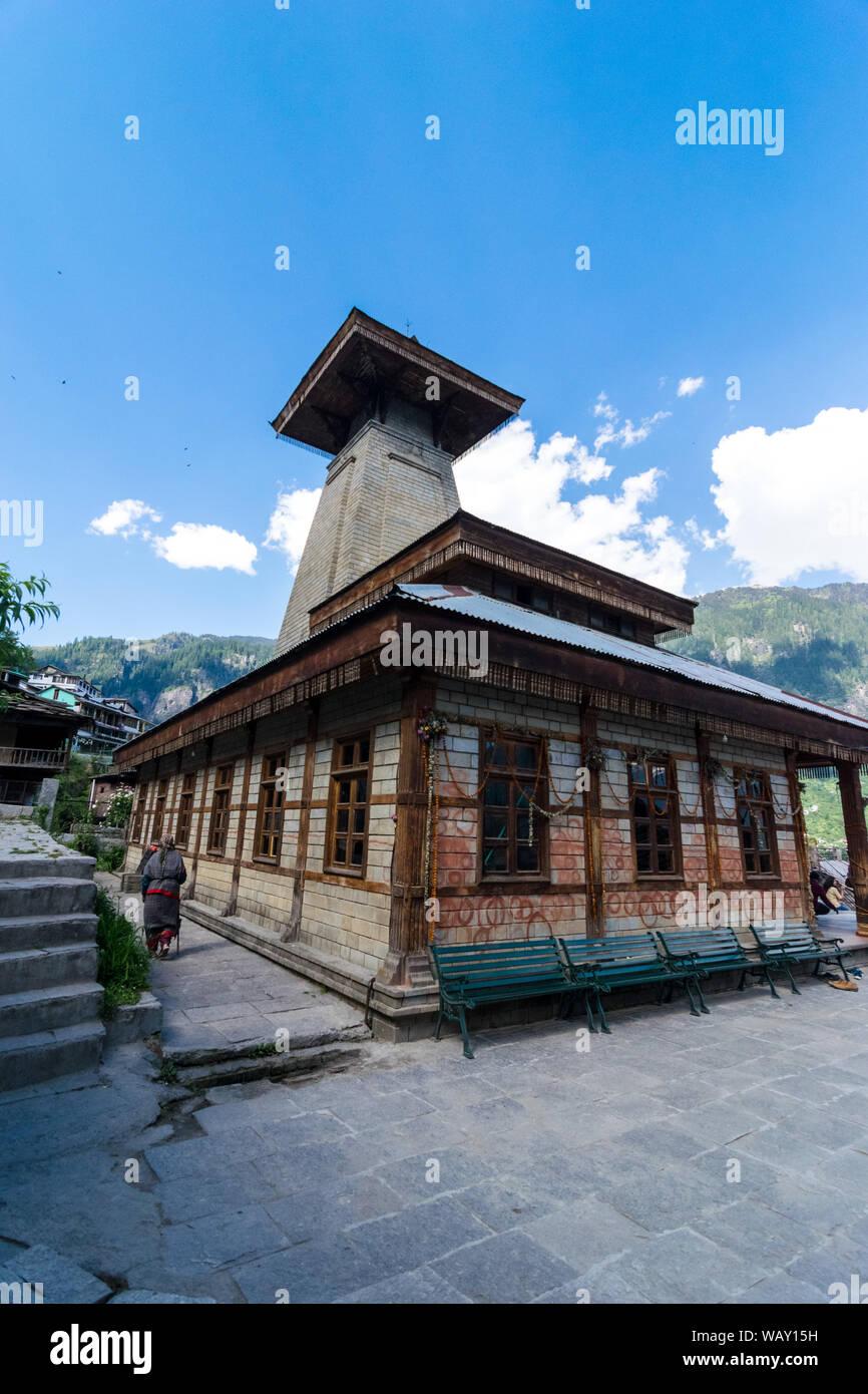 Manali, Himachal Pradesh, India - Mayo 30, 2019 : Manu Templo en los Himalayas. Foto de stock