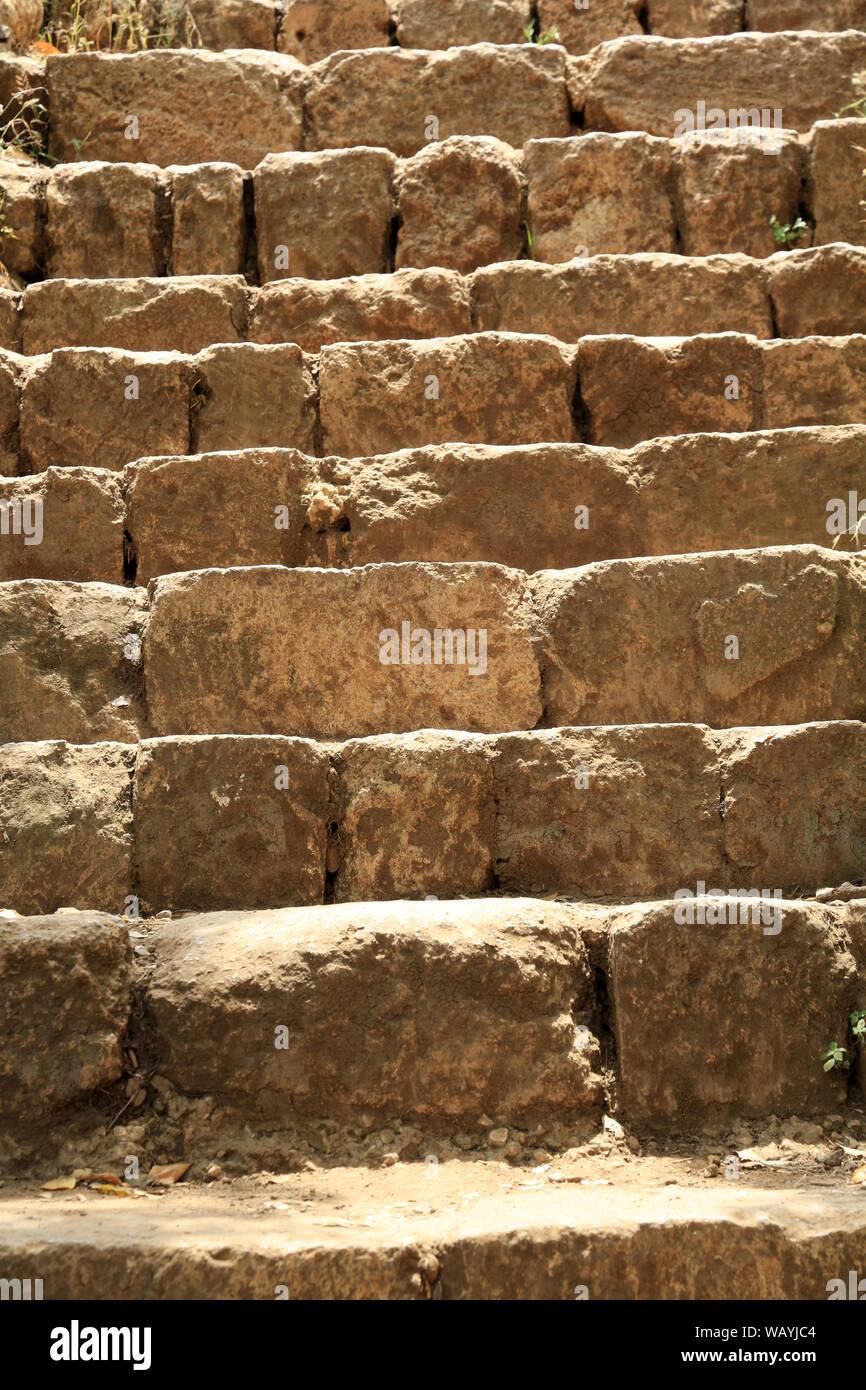Escalier en pierres. Parque Nacional de Hermón. Israël. Foto de stock