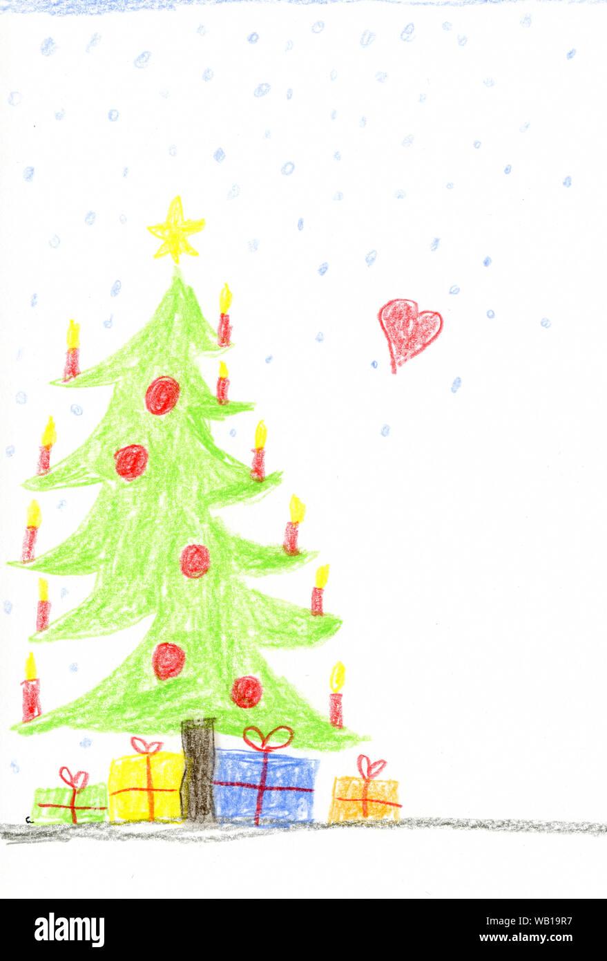 Dibujo Infantil Con árbol De Navidad Decorado Y Presenta
