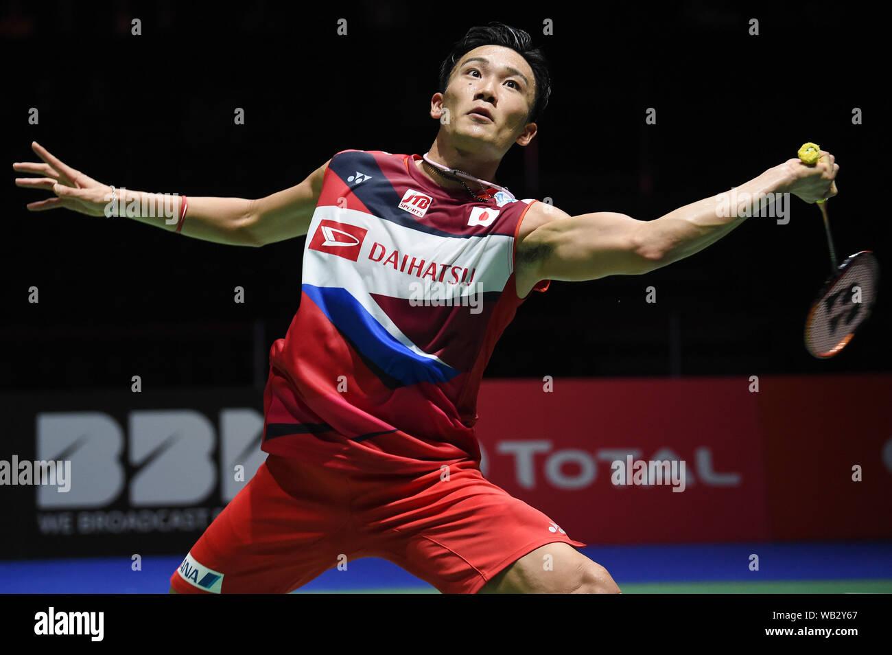 Basilea, Suiza. 23 Aug, 2019. Kento Momota (JPN) Badminton : La BWF Campeonatos del Mundo 2019 hombres solteros en cuartos de final en St. Jakobshalle de Basilea, Suiza . Crédito: Itaru Chiba/AFLO/Alamy Live News Foto de stock