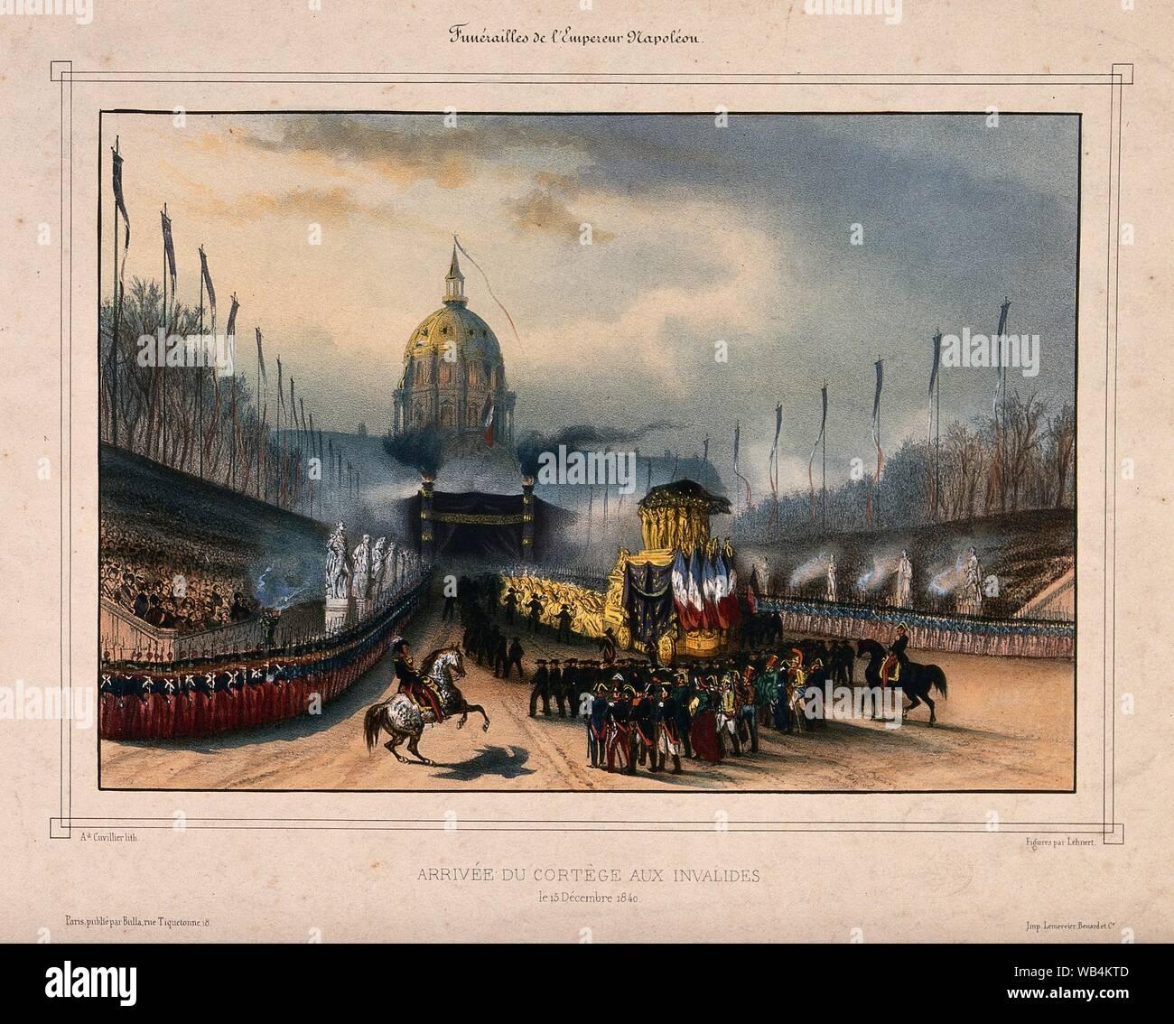 El cortejo fúnebre formado por Napoleón Bonaparte llega a las cúpulas des Invalides en París en 1840. Litografía de color .jpg - WB4KTD Foto de stock