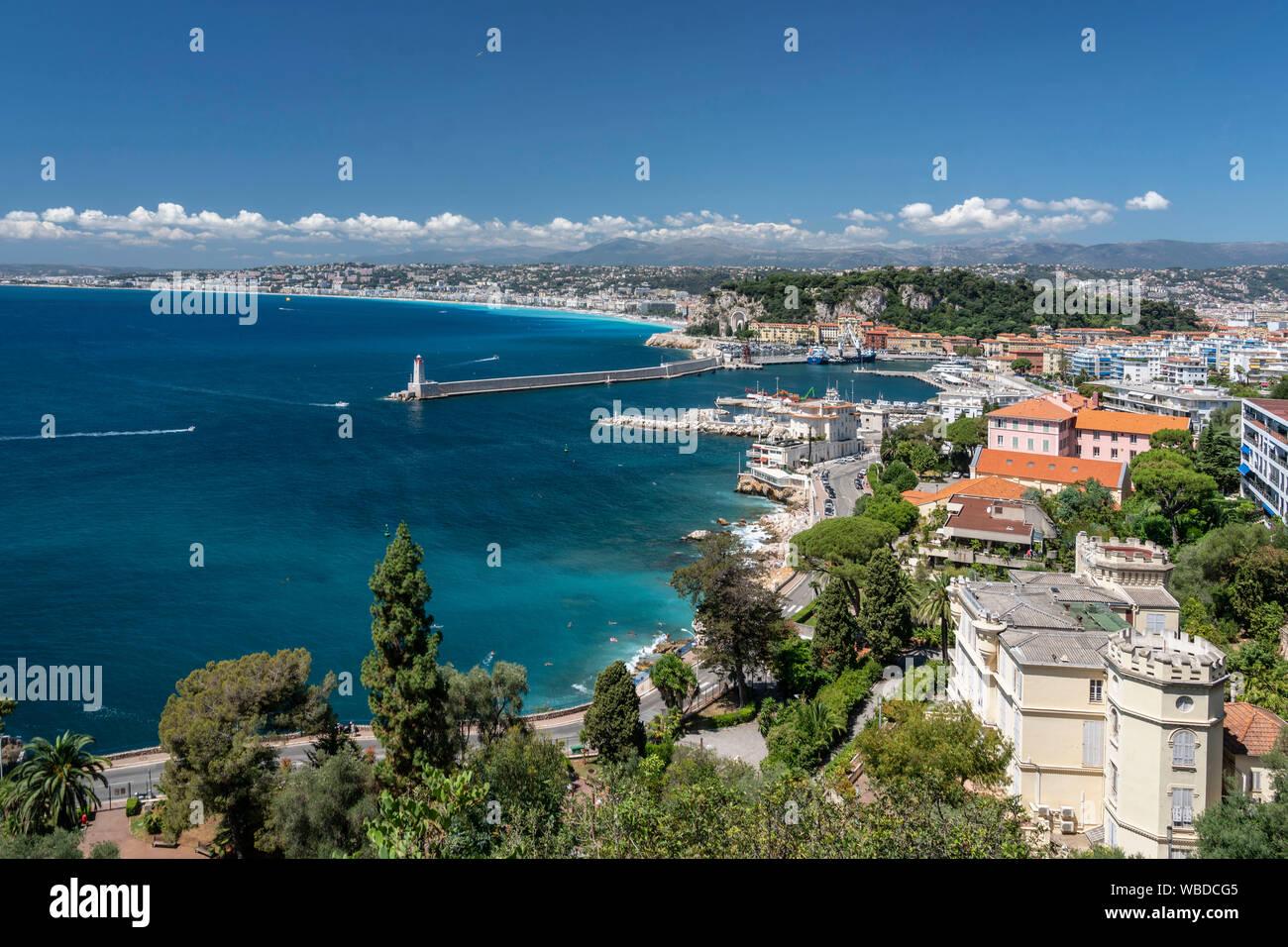 Vista panorámica de Niza Cote d'Azur, Francia Foto de stock