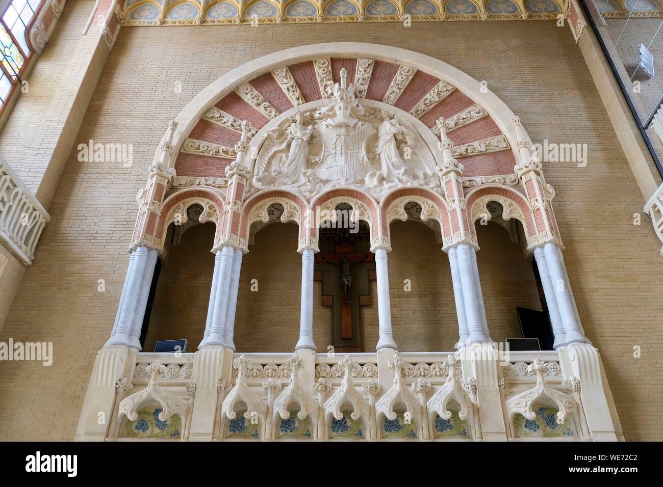 España, Cataluña, Barcelona, El Distrito de Guinardo, Hospital de la Santa Creu i Sant Pau listados como Patrimonio Mundial por la UNESCO, con estilo modernista del Arquitecto Domenech i Montaner Foto de stock