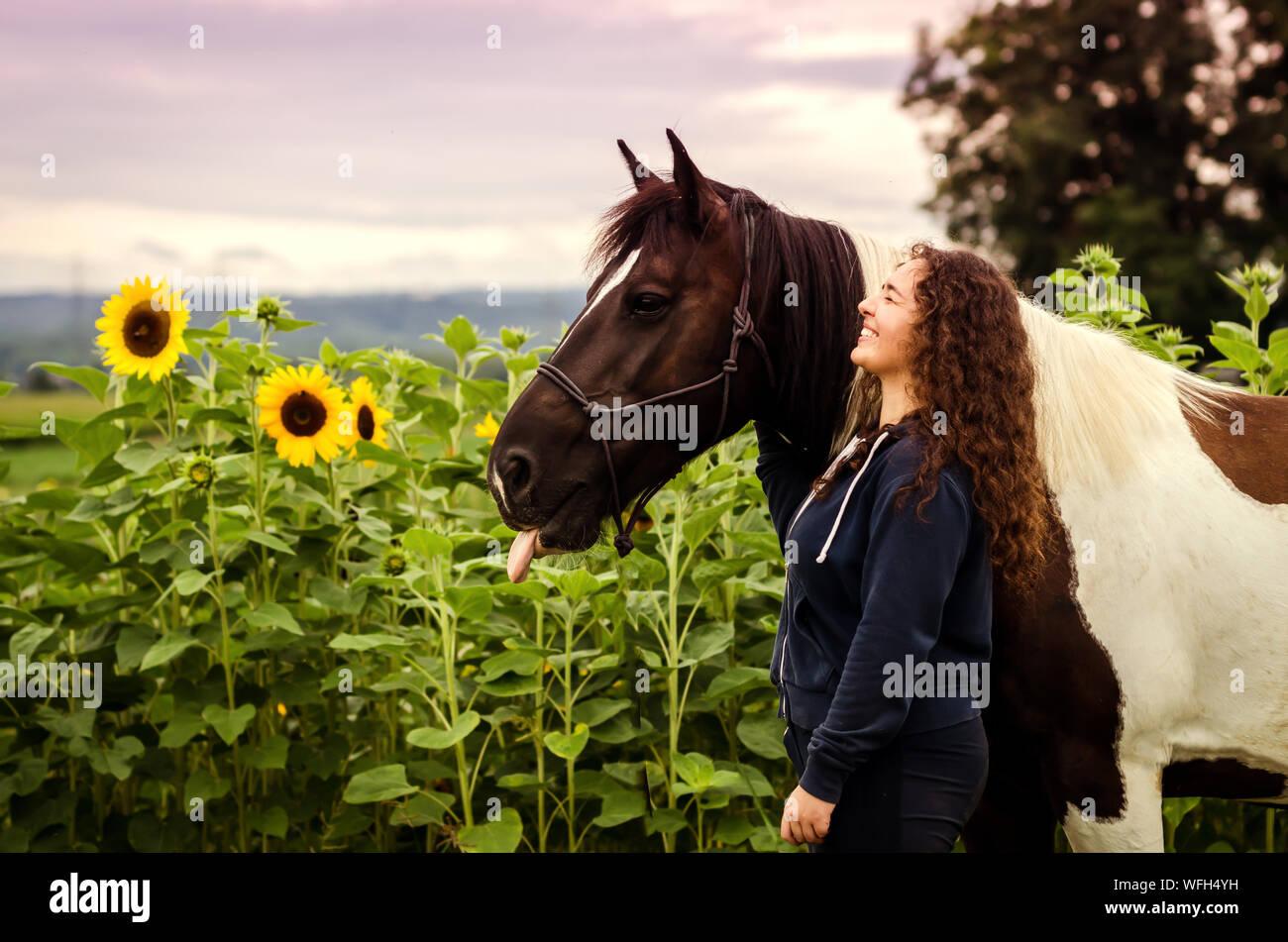 Vista lateral de la Mujer de pie a caballo en campo de girasol Foto de stock