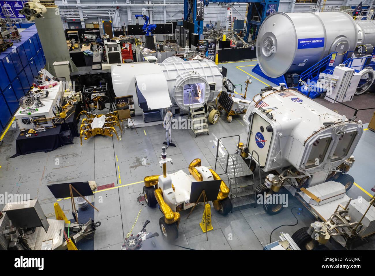 Maqueta del vehículo espacial Facility en el Centro Espacial Johnson de la NASA, Houston, Texas Foto de stock