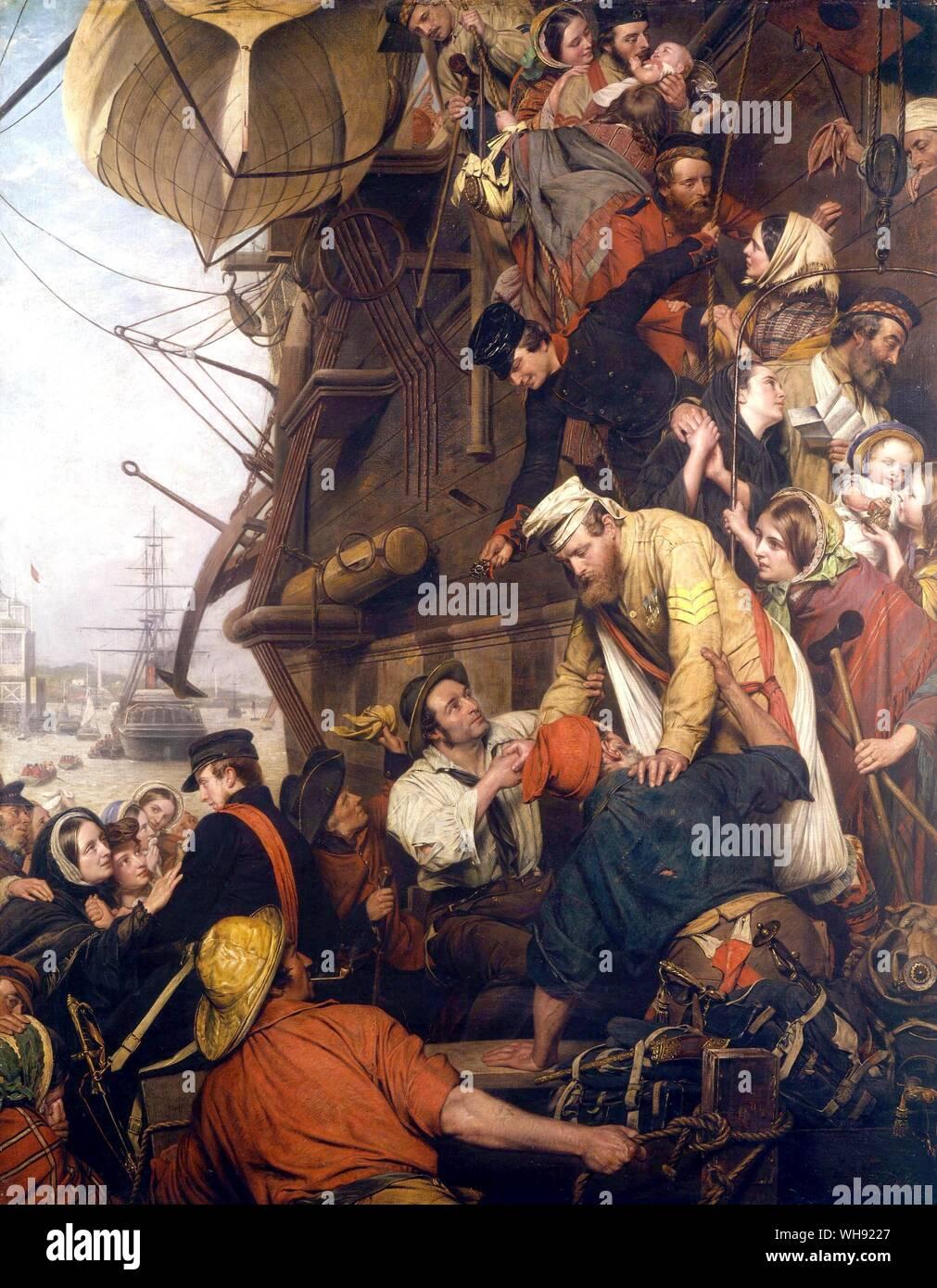 Nuevo hogar - 1858. Por Henry Nelson O'Neill (1817-80). Colección privada - Consejo Nacional de Museo del Ejército, Londres, Reino Unido. De nuevo en casa, muestran a soldados de desembarcar desde un troopship en Gravesend, regresando del Motín indio (1857-1859). Hacia el este de la ciudad de Ho! Agosto de 1857, por Henry Nelson O'Neil muestra el drama vivo de soldados a bordo de un barco en Gravesend. Ellos están dejando a luchar en el Océano 'Mutiny' - la primera guerra de independencia india en 1857. El compañero de pintar de nuevo en casa, 1858 muestra el regreso de los soldados un año más tarde. Foto de stock