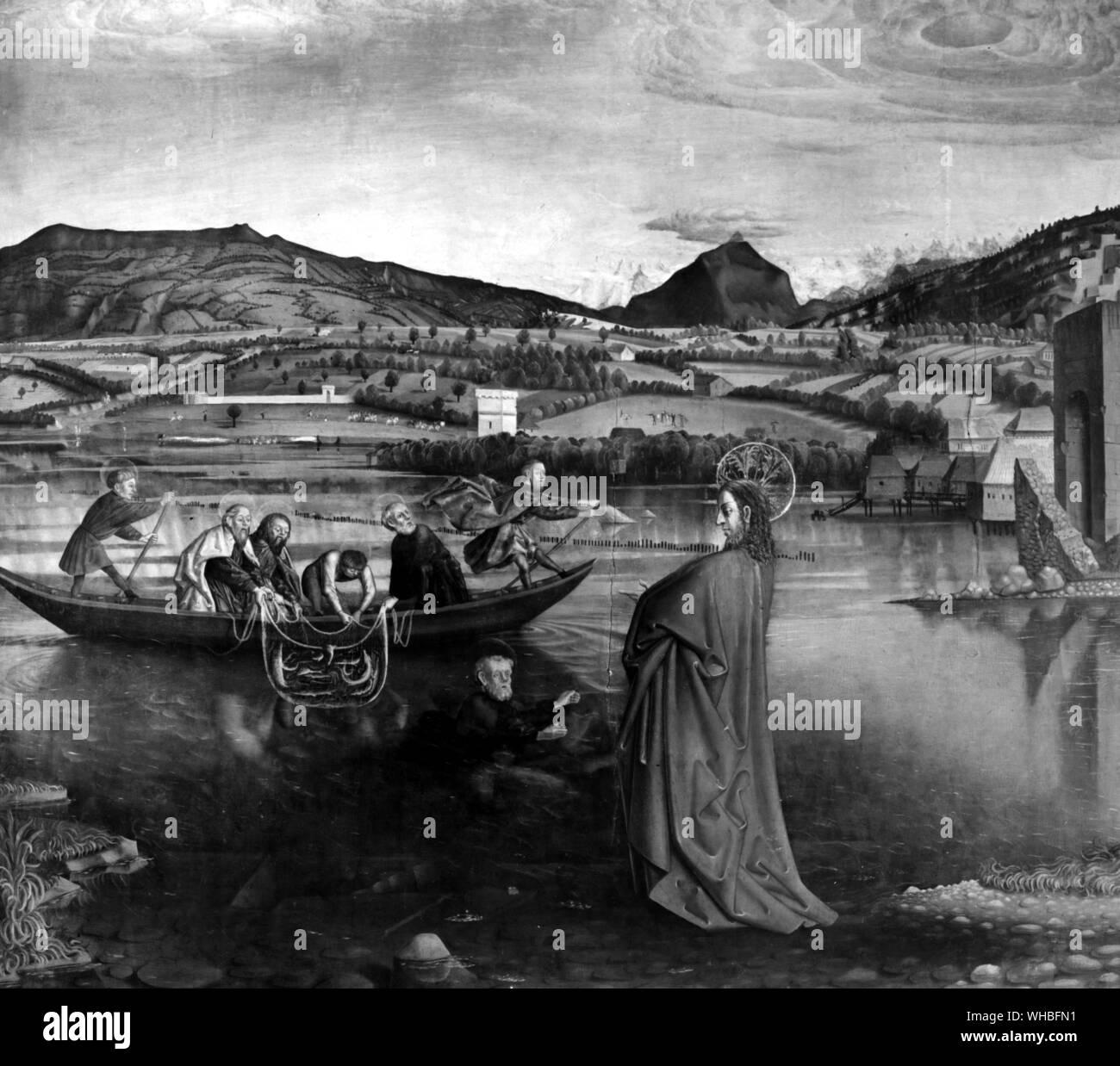 El milagroso Proyecto de peces (detalle) por Konrad Witz (1400/10-44/6) S. Alemania 1444 - desde el retablo del Cardenal Francois de mies - en el Musée d'Art et d'Histoire, Ginebra, Suiza. Foto de stock