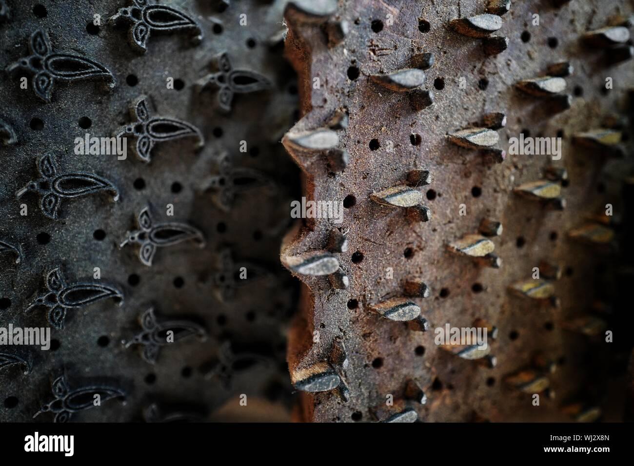Disparo de fotograma completo del bloque de impresoras Foto de stock