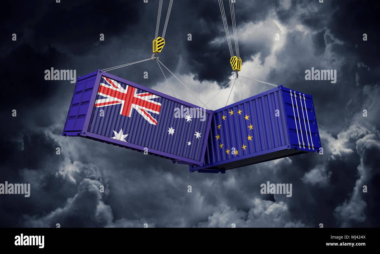 Australia y Europa guerra comercial concepto. Entrechocar de contenedores de carga. 3D Render Foto de stock