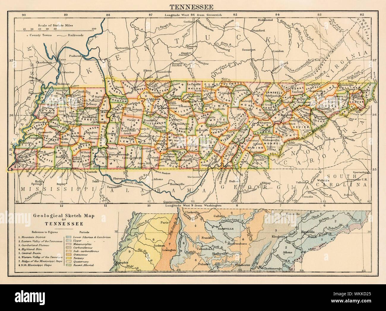 Mapa de Tennessee, 1870. Litografía de color Foto & Imagen ...