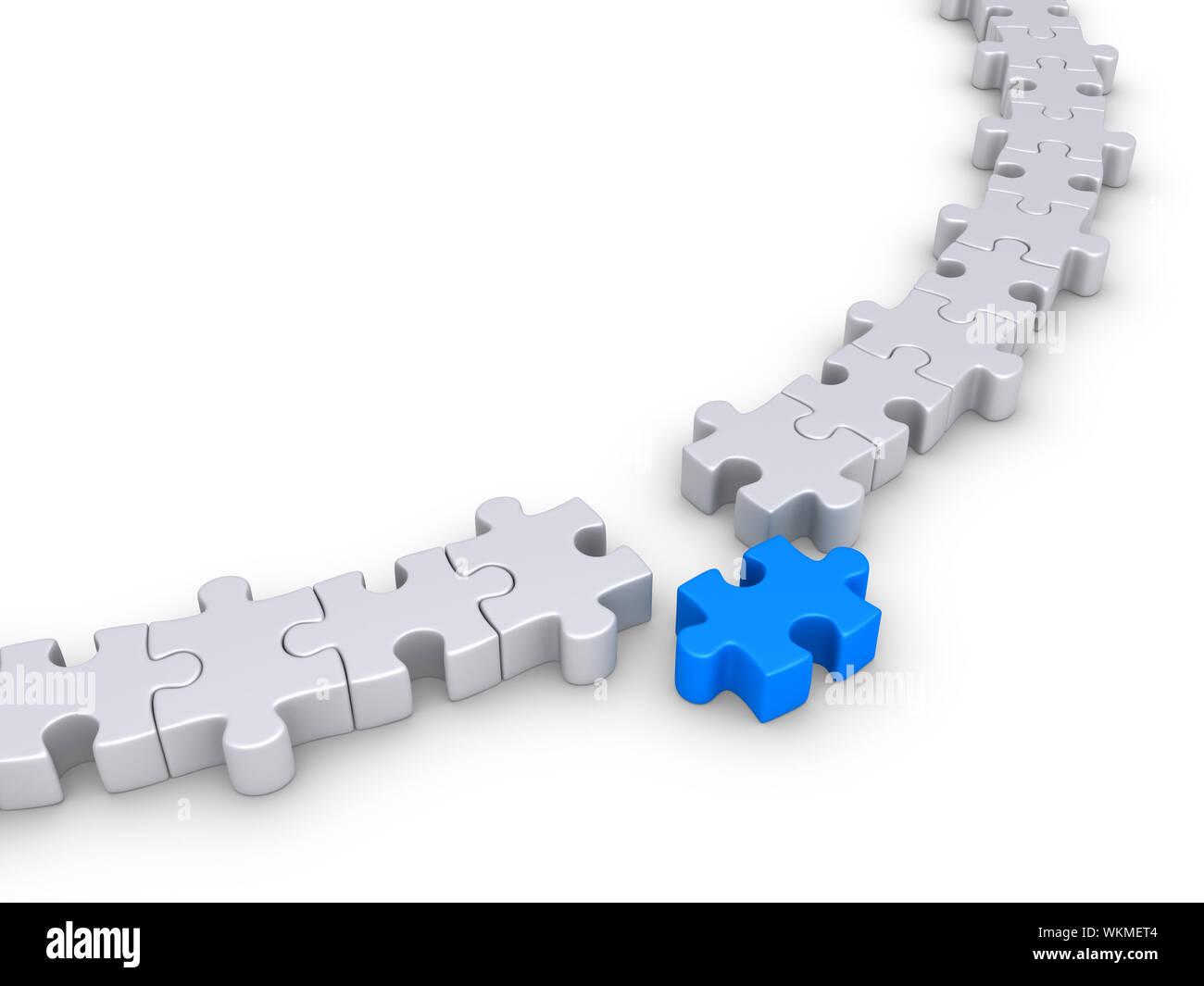 Las piezas del rompecabezas forman un círculo, pero uno es diferente Foto de stock