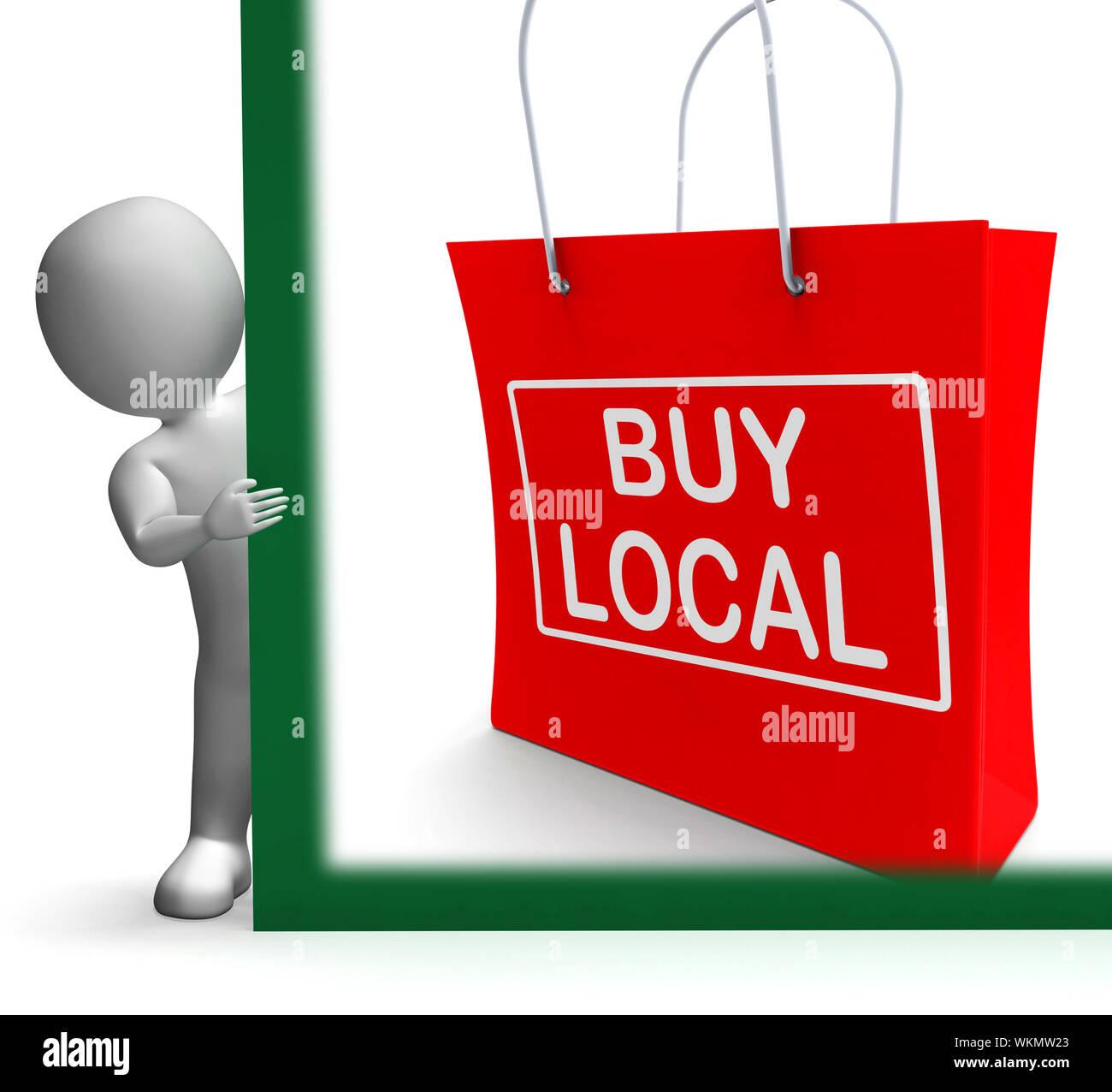 Comprar Local Shopping Bag mostrando comprar comercio cercano Foto de stock