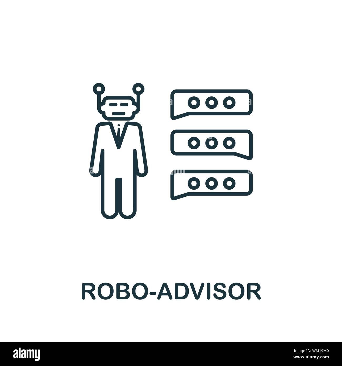 Esquema Robo-Advisor icono. Concepto de línea delgada elemento de tecnología fintech colección de iconos. Icono Robo-Advisor creativo para aplicaciones móviles y web Ilustración del Vector