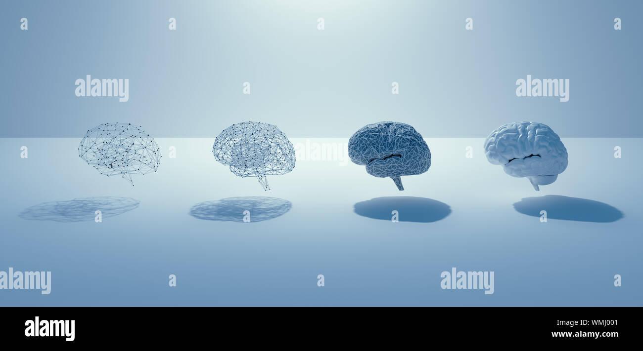 3D Render de AI construir paso al cerebro humano , 4 cerebros, grid cerebro cerebro real, blanco diseño minimalista concepto. Foto de stock