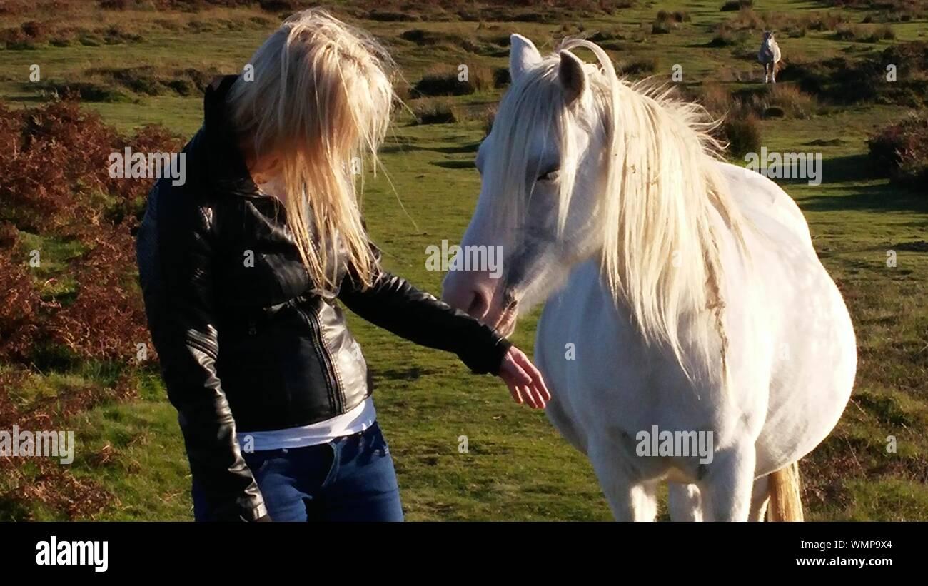 Mujer con caballo en campo Foto de stock
