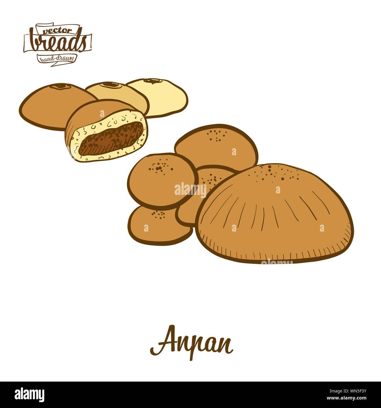 Color de dibujo Anpan pan. Ilustración vectorial de bollo dulce alimentos, generalmente conocido en Japón. Pan de color de bocetos. Ilustración del Vector