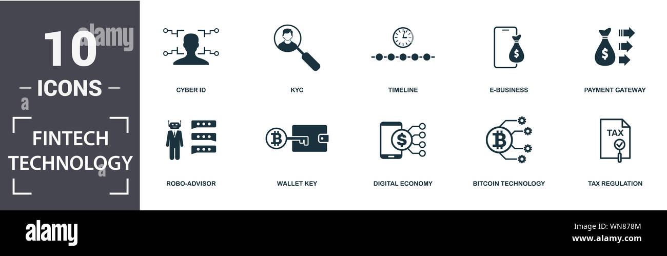 Tecnología Fintech conjunto de iconos. Contienen rellenos robo-plana advisor, regulación tributaria, kyc, pasarela de pago, economía digital, iconos de e-business. Editable Foto de stock