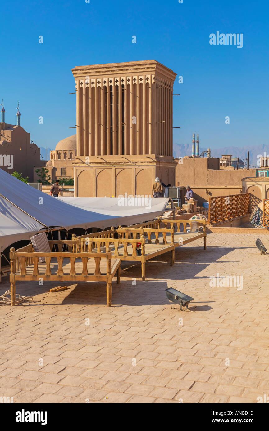 Windtower badgir Windcatcher,,, Yazd, provincia de Yazd, Irán Foto de stock