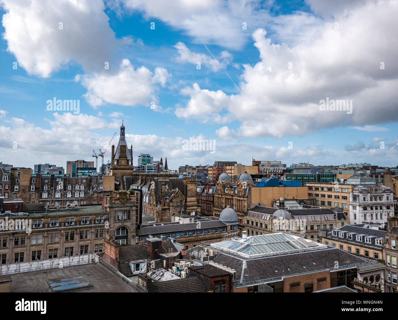 Vista de la ciudad desde la torre del faro, Mitchell Street, Glasgow, Escocia, Reino Unido Foto de stock