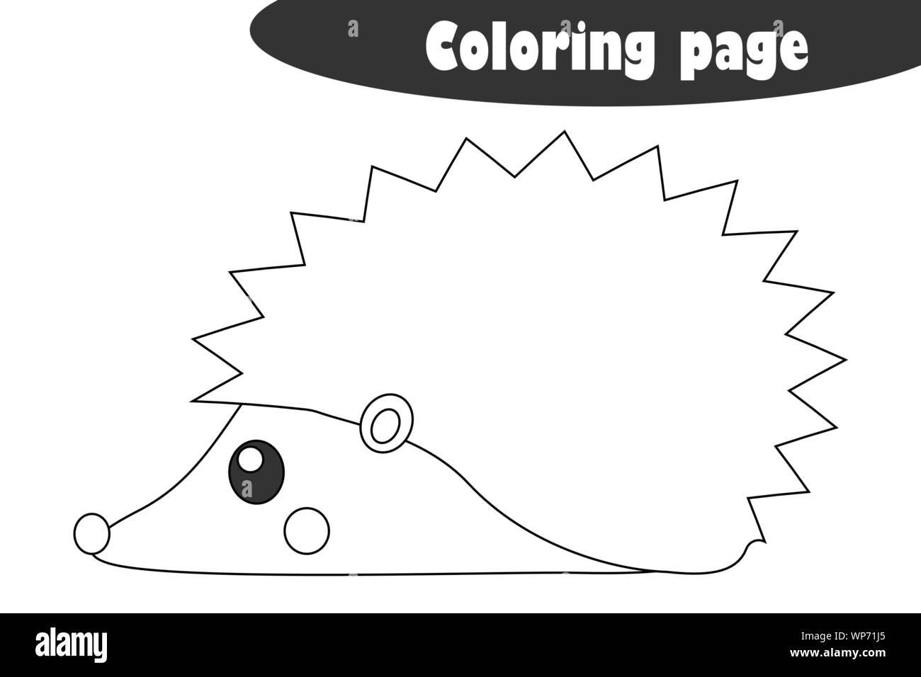 Erizo En El Estilo De Dibujos Animados Otoño En Blanco Y