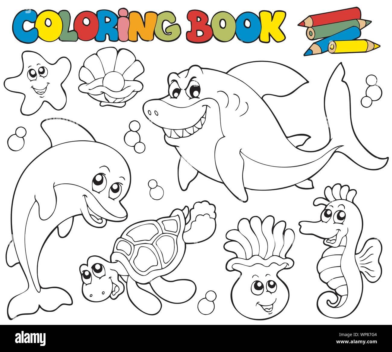 Libro Para Colorear Con Animales Marinos 2 Ilustracion Del Vector