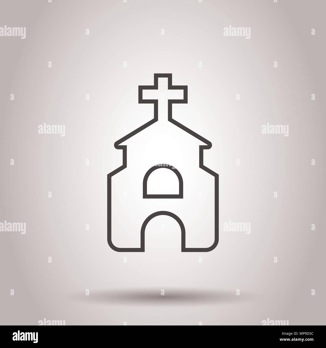 Icono de la iglesia en estilo plano. Capilla ilustración vectorial sobre el aislamiento del fondo. Edificio religioso concepto empresarial. Ilustración del Vector