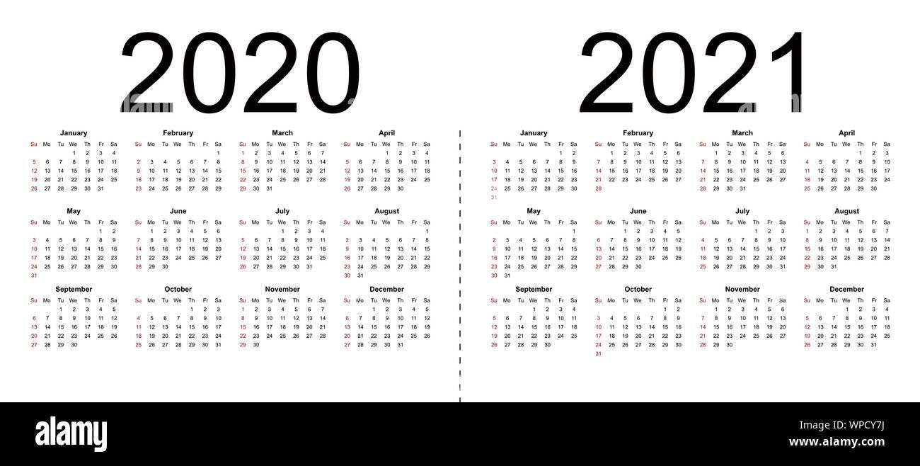 El calendario 2020, 2021. La semana comienza en domingo, plantilla de negocio. Ilustración vectorial aislado sobre fondo blanco.
