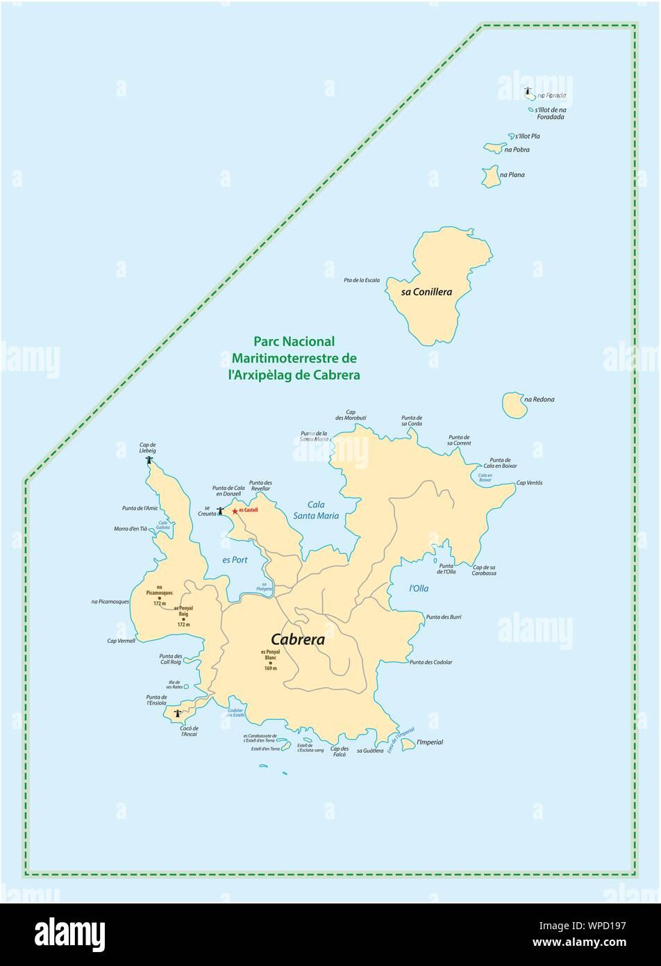 Isla De Cabrera Mapa.Mapa De Las Islas Baleares Espana Cabrera Ilustracion Del