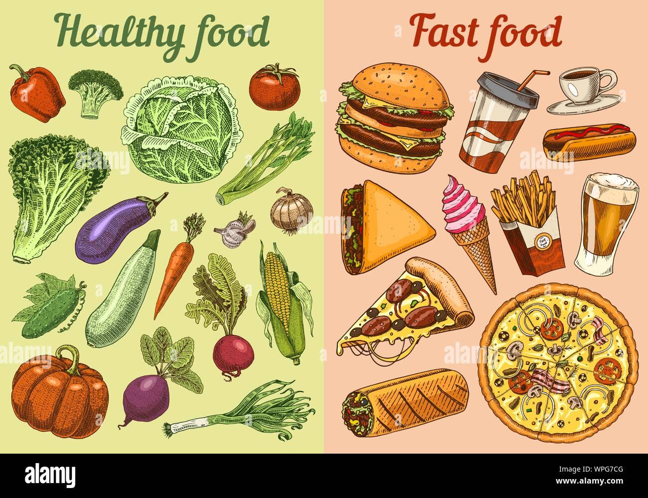 Vs Saludable Comida Chatarra Concepto Frutas Y Verduras O Rápido De La Nutrición Dieta Equilibrada Concepto De Estilo De Vida Ilustración Para La Tienda O Mercado De Granja Orgánica Imagen Vector De