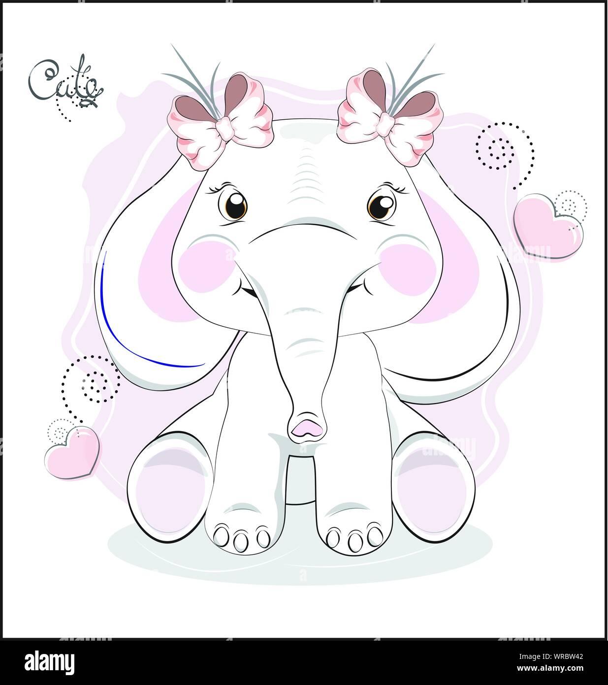 El Precioso Bebé Elefante Dibujado En La Pantorrilla Con