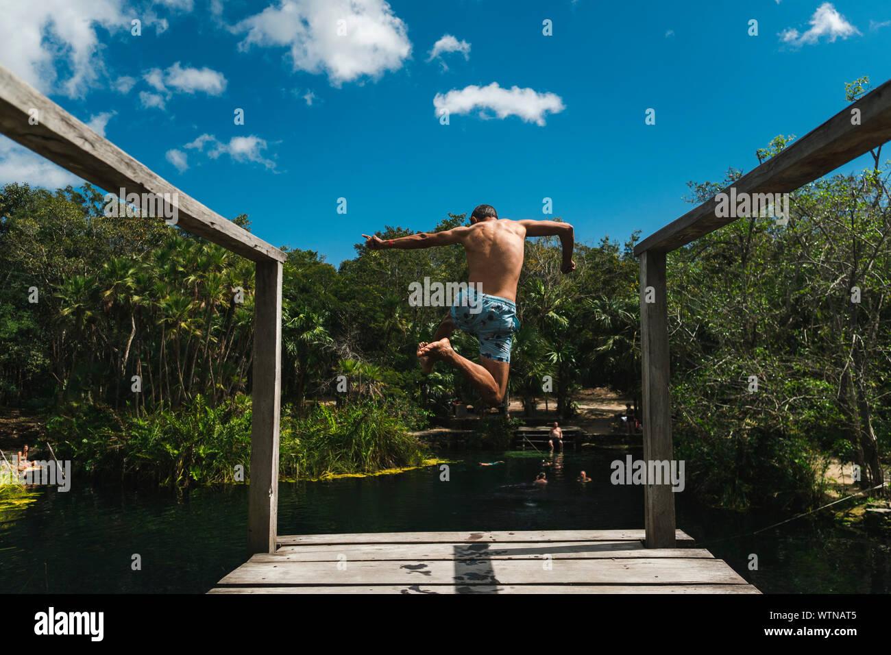 Vista posterior del varón de mediana edad saltando de plataforma en Cenote Crystal Foto de stock