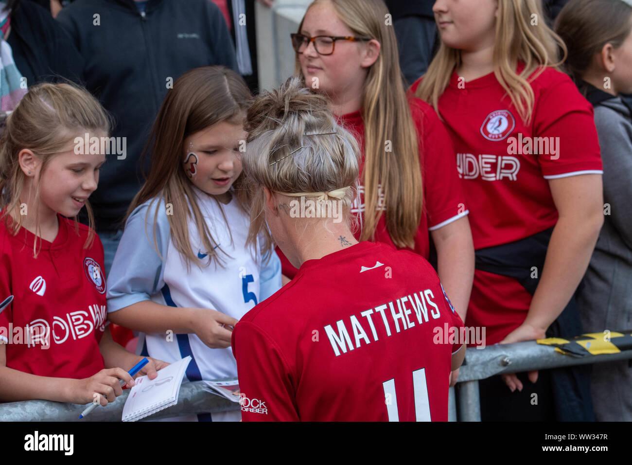 Bristol, Inglaterra, 7 de septiembre de 2019. Barclays FA Womens Super League match entre Bristol City Women vs Brighton & Hove Albion en Ashton Gate. Foto de stock